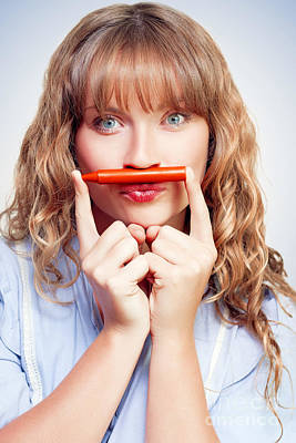 Thinking Student With Orange Crayon Moustache Art Print