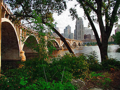 Minneapolis Skyline Photograph - Third Avenue Bridge by Tom Reynen