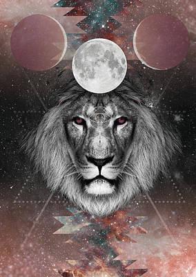 Third Eye Lion Vision Art Print by Lori Menna