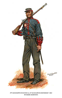 Vintage Uk Posters - Third Mississippi Infantry Company B 1861 Sunflower Dispersers by Mark Maritato