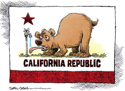 Drawing - Thirsty California Flag by Daryl Cagle
