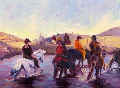 Icelandic Horse Painting - Thirsty by Terry  Chacon