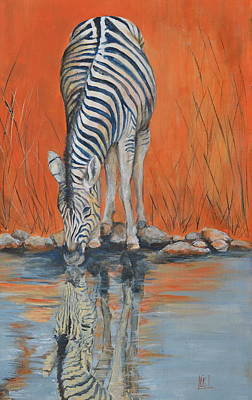 South Africa Zebra Painting - Thirsty Zebra by Kareni Bester