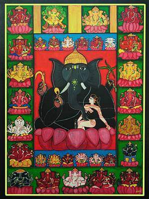 Painting - Thirty Two Forms Of Ganapati by Pratyasha Nithin