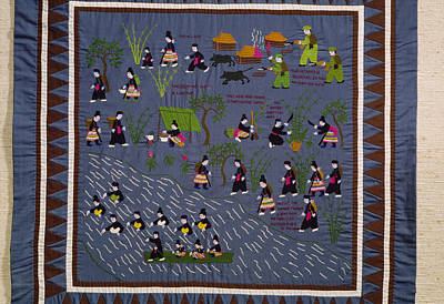 This Hmong Quilt Depicts Villagers Print by Robert S. Oakes