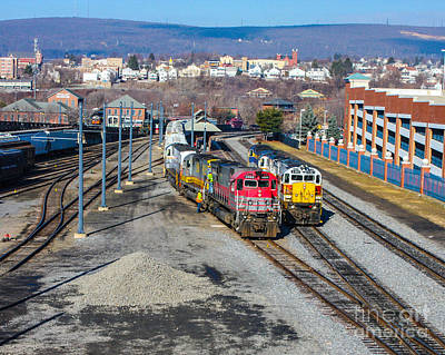 Rolled Yard Photograph - This Is A Photo Of Engines Hooked Up To Cars Getting Ready To Roll Out Ot Steamtown Yard, Pa by William Rogers