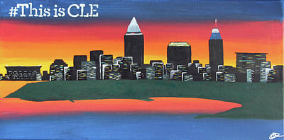 Skylines Painting - This Is Cle by Cyrionna The Cyerial Artist