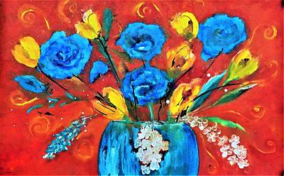 Digital Art - This Is It Pop Floral Orange And Blue Painting By Lisa Kaiser by Lisa Kaiser