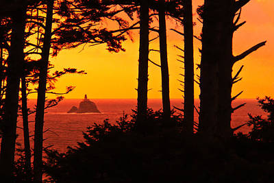 Sea Lion Digital Art - This Is Oregon State 8 - The Light House At Sea Lion Rock by Paul W Sharpe Aka Wizard of Wonders