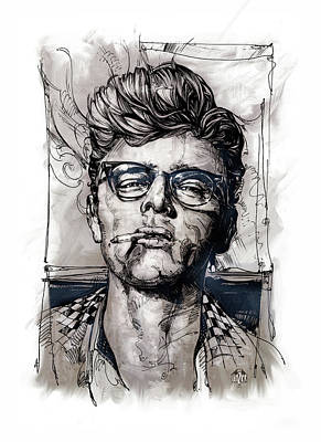 Actors Royalty-Free and Rights-Managed Images - This James Dean Inking and Painting by Garth Glazier