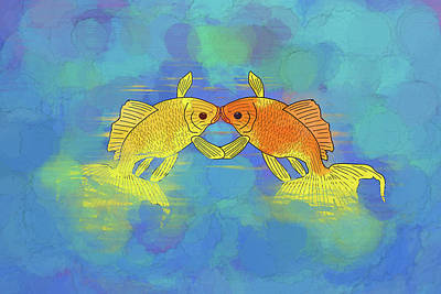 Digital Art - This Kiss This Kiss by John Haldane