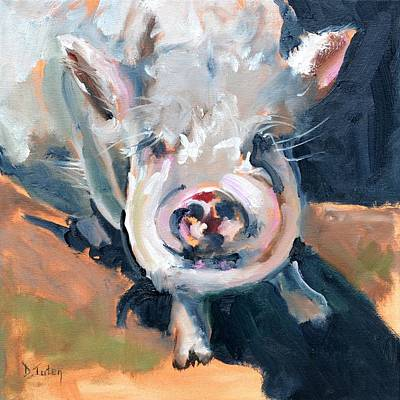 Painting - This Little Piggy At Spring Valley Farm by Donna Tuten