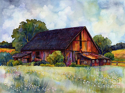 Flower Fields Painting - This Old Barn by Hailey E Herrera