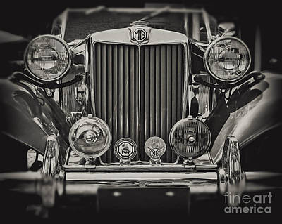 Vintage Mg Photograph - This Old Mg In Black And White by Emily Kay