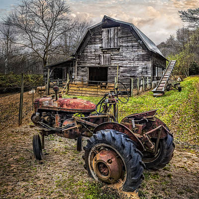 Barn In Woods Photograph - This Old Tractor by Debra and Dave Vanderlaan