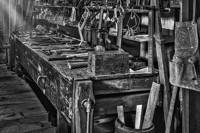 Photograph - This Old Workshop Bw by Susan Candelario