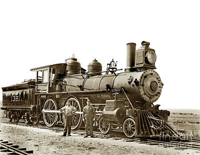 Photograph - This Steam Engine No. 1381 4-4-0,  by California Views Mr Pat Hathaway Archives