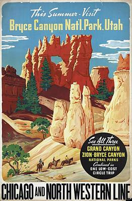 Mountain Landscape - This Summer - Visit Bryce Canyon National Par, Utah, USA - Retro travel Poster - Vintage Poster by Studio Grafiikka