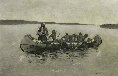 Canoes Drawing - This Was A Fatal Embarkation by Frederic Remington