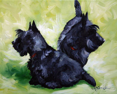 Scottish Dog Painting - This Way Or That  by Mary Sparrow