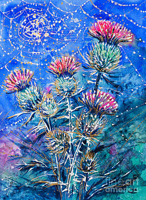 Painting - Thistle In The Morning Dew by Zaira Dzhaubaeva