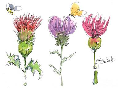Painting - Thistles Three Scotlands Flower Art by Kathleen McElwaine