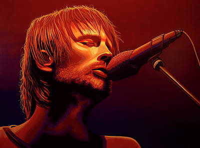 Concert Painting - Thom Yorke Of Radiohead by Paul Meijering