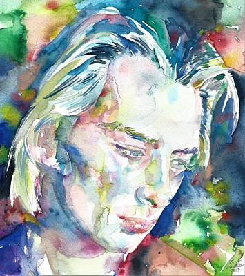 Painting - Thom Yorke - Watercolor Portrait by Fabrizio Cassetta