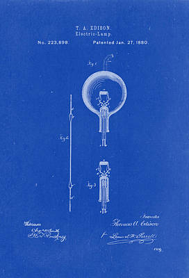 Vintage Lamp Drawing - Thomas A. Edison Electric Lamp Patent Drawing 1880 Blueprint by Patently Artful