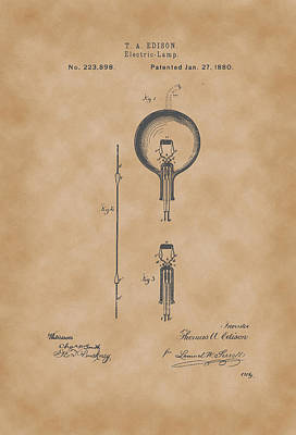 Vintage Lamp Drawing - Thomas A. Edison Electric Lamp Patent Drawing 1880 Vintage by Patently Artful