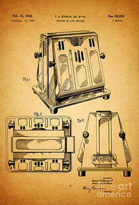 Toaster Digital Art - Thomas A. Edison Jr. Toaster Patent 1933 1 by Nishanth Gopinathan