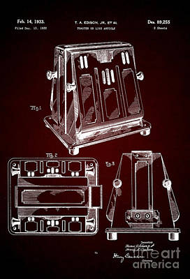 Toaster Digital Art - Thomas A. Edison Jr. Toaster Patent 1933 2 by Nishanth Gopinathan