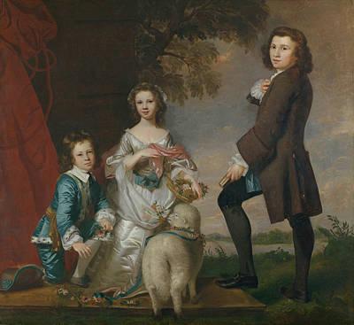 Thomas And Martha Neate With His Tutor, Thomas Needham Print by Joshua Reynolds