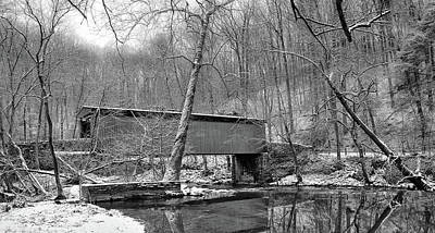 Wissahickon Photograph - Thomas Covered Bridge In The Wintertime In Black And White by Bill Cannon