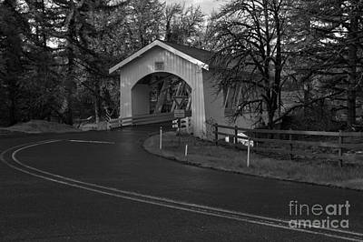 Photograph - Thomas Creek Covered Bridge - Black And White by Adam Jewell