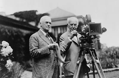 1920s Movies Photograph - Thomas Edison 1847-1931 And George by Everett