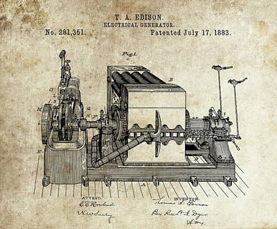 Magneto Drawing - Thomas Edison Electrical Generator by Dan Sproul