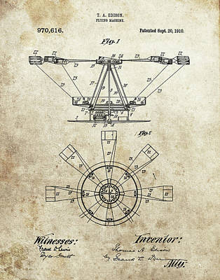 Drawing - Thomas Edison Flying Machine by Dan Sproul