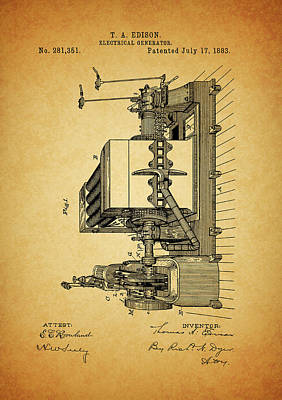 Mixed Media - Thomas Edison Generator Patent by Dan Sproul