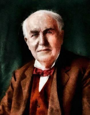 Inventor Painting - Thomas Edison, Inventor by John Springfield