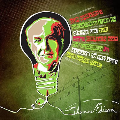 Digital Art - Thomas Edison by Sethu Madhavan