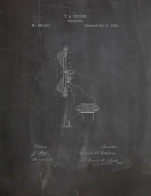 Thomas Edison Telephone Patent Art Print by Dan Sproul