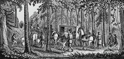 Thomas Hooker And His Congregation Traveling Through The Wilderness Art Print
