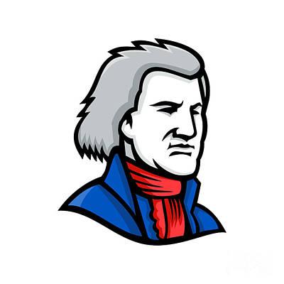 Politicians Digital Art - Thomas Jefferson Mascot by Aloysius Patrimonio