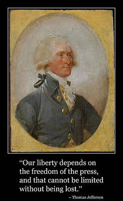 Photograph - Thomas Jefferson Portrait With Free Press Quotation by Aurelio Zucco
