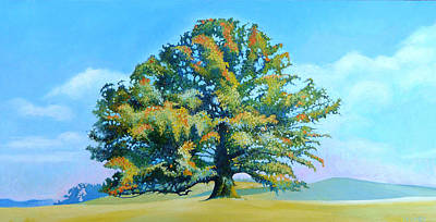 Politicians Paintings - Thomas Jeffersons White Oak Tree On The Way To James Madisons For Afternoon Tea by Catherine Twomey