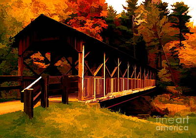 Photograph - Thomas L Kelley Covered Bridge Allegany State Park Molten Gold Effect by Rose Santuci-Sofranko
