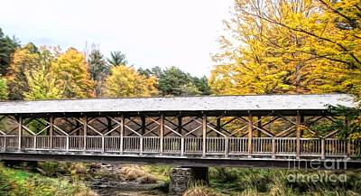 Photograph - Thomas L Kelley Covered Bridge At Allegany State Park In Nys Abstract by Rose Santuci-Sofranko