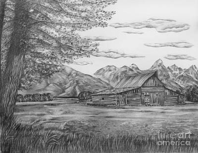 Ranch Drawing - Thomas Moulton Barn by Lena Auxier