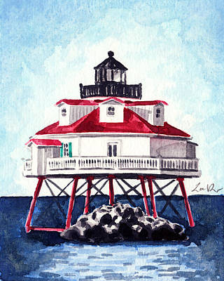 Beach Style Painting - Thomas Point Shoal Lighthouse Annapolis Maryland Chesapeake Bay Light House by Laura Row